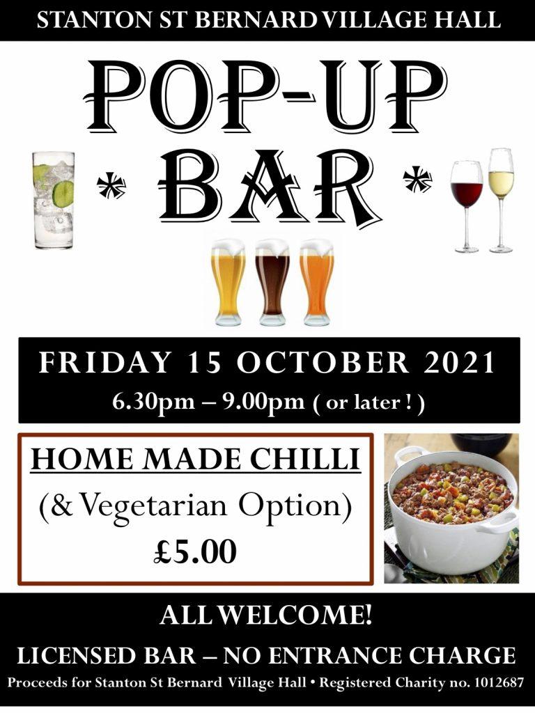 Pop-Up bar 15 October 2021