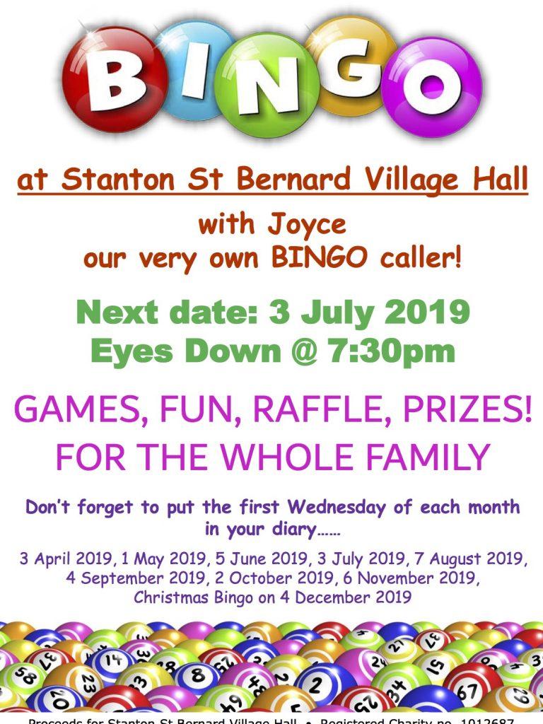 Bingo Poster 3 July 2019