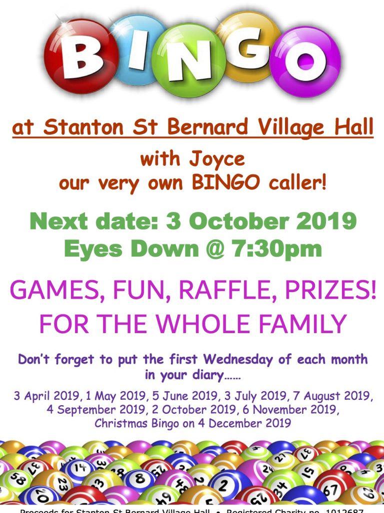 Bingo Poster 3 October 2019