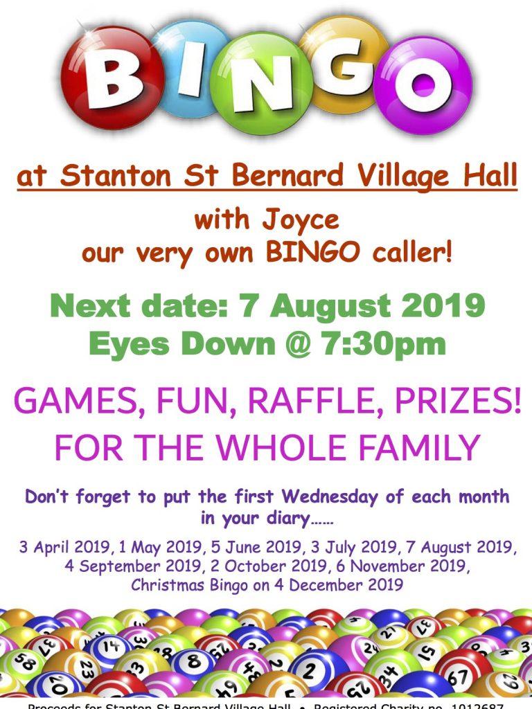 Bingo Poster 7 August 2019