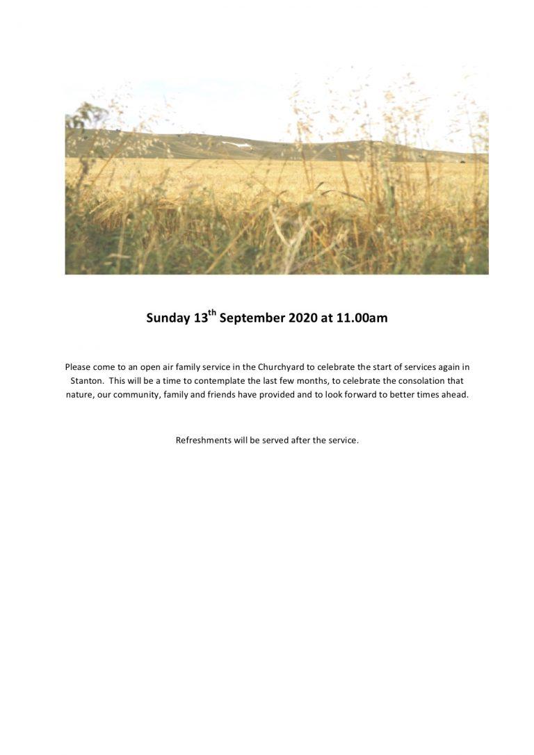 Outdoor service 13th September 2020 flyer
